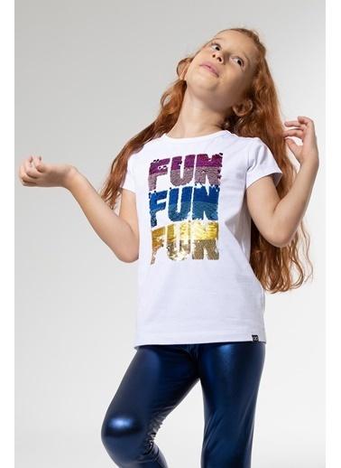 Colorinas Fun Payetli Tshirt Kısa Kol Beyaz Beyaz